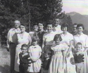 Grandparents, parents, and 9 siblings